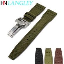 Genuine Leather with Nylon Watchband Canvas 22mm Bottom Watch Pilot Strap Bracelet Butterfly Steel B