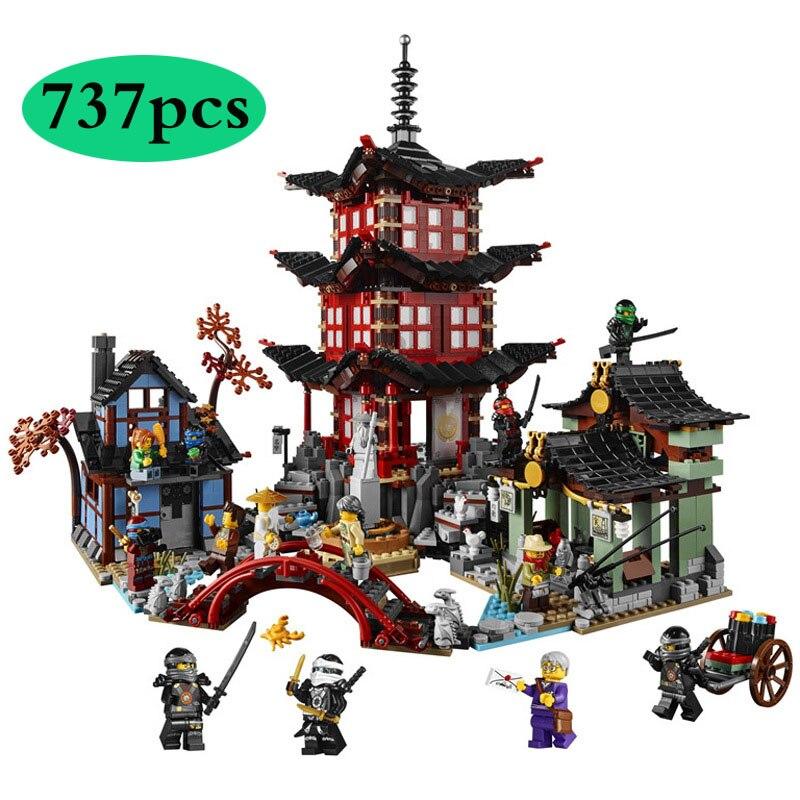 737 Uds. Diy templo Ninja de Airjitzu Ninjagoes versión más pequeña juego de bloques de construcción Compatible con juguetes para niños