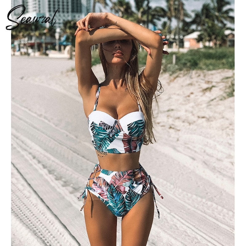 Hoge Taille Bikini Set 2019 Mujer Push Up Bandage Bikini Badmode Vrouwen Bloemen Twee Stukken Badpak Strappy Biquinitraje De Baño