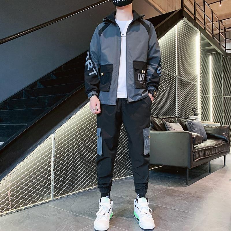 Hip Hop Men Tracksuit 2 pieces Set Mens Tracksuit Casual Letter Print Suits Loose Stand Collar Sweatshirts Men Jacket Pants Sets