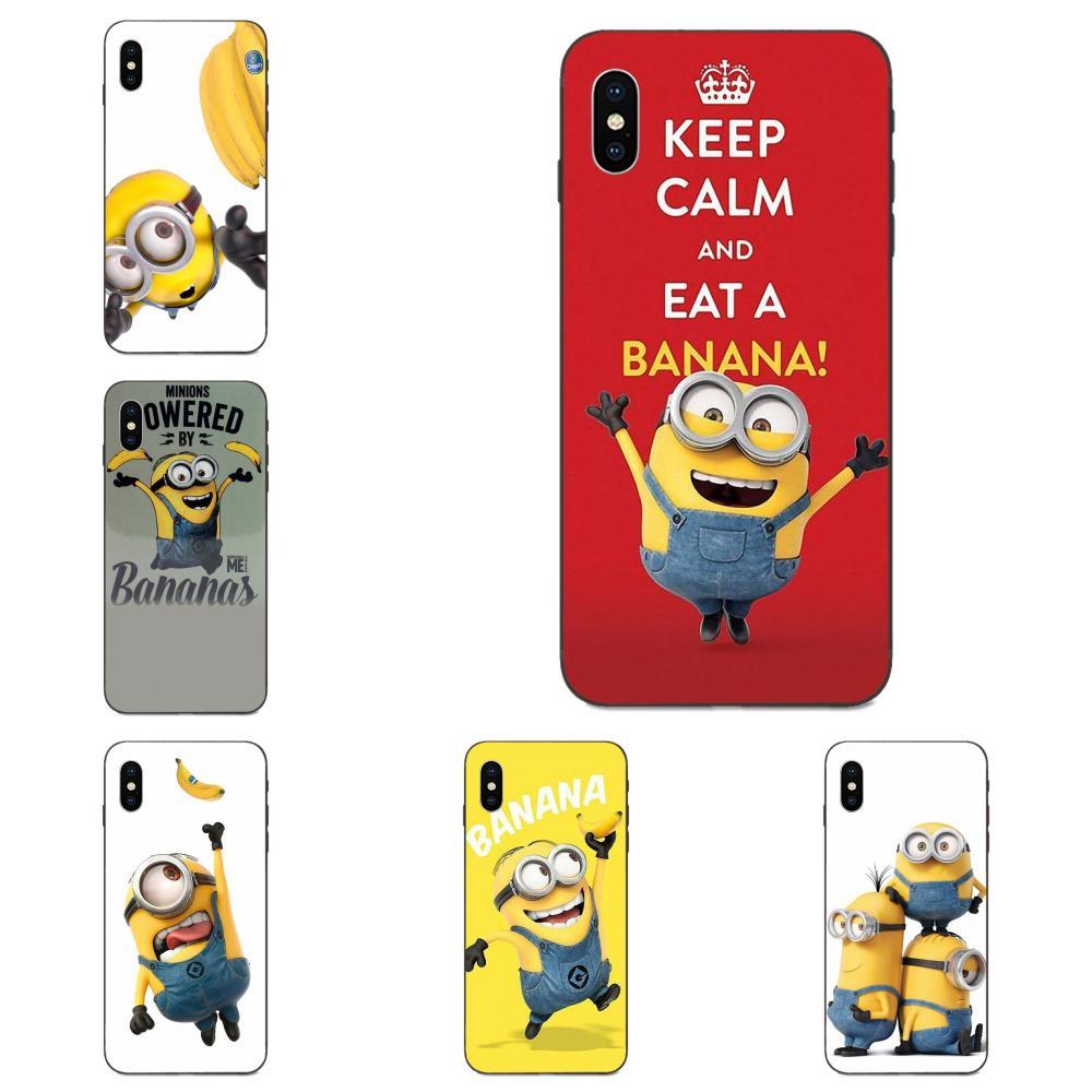 Para Apple iPhone 4 4S 5 5S SE 6 6S 7 8 11 Plus X XS X Max XR Pro Max suave Minions Banana