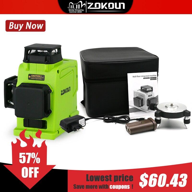 Zokoun gf120 3d alemão marca módulo linha verde laser nível 5200mah bateria controle remoto horizontal & vertical ferramenta de medição