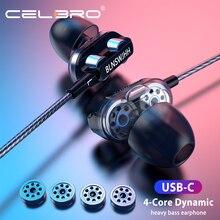 Controlador Dual auricular con cable USB tipo C de alto Bass Music Auriculares auriculares con micrófono auriculares para el teléfono Tablet interruptor Lite