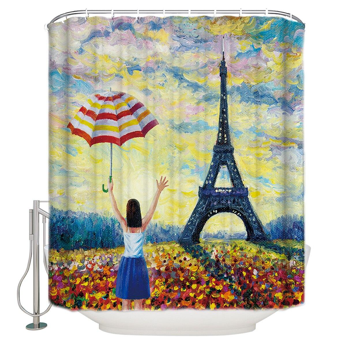 Pintura a óleo estilo torre eiffel menina guarda-chuva cortina de chuveiro à prova dmilágua e mildewproof poliéster tecido cortina de banho design