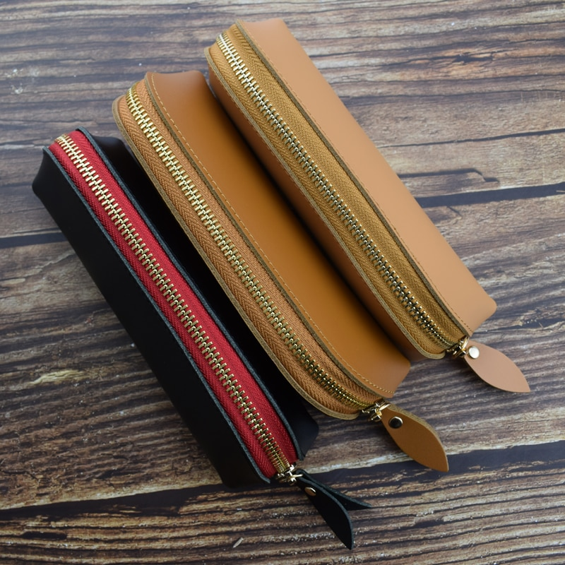 Handmade Cowhide PencilCase Genuine Leather Zipper Pencil Bag Portable Office School Writing Materials Storage Stationery Gift