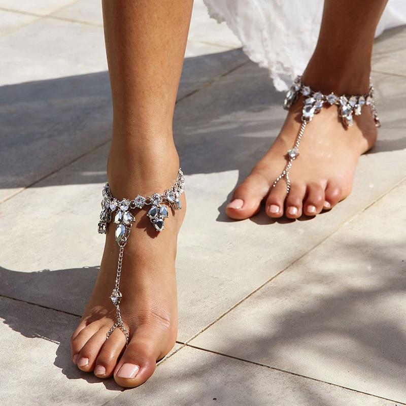 1 Uds. Tobillera de cristal, sandalia para pies descalzos, cadena para pies, dedo del pie, anillo para playa, tobillo, joyería para mujeres