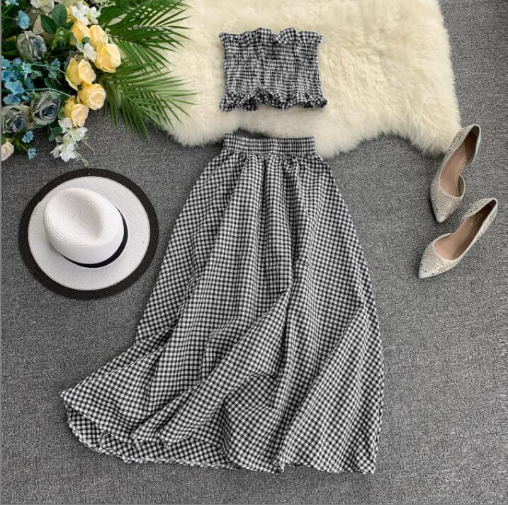 Streetwear, conjunto de dos piezas de Playa de las mujeres conjunto a cuadros nuevo verano sin tirantes Camisa + falda 2 uds conjuntos de ropa mujer Feminino