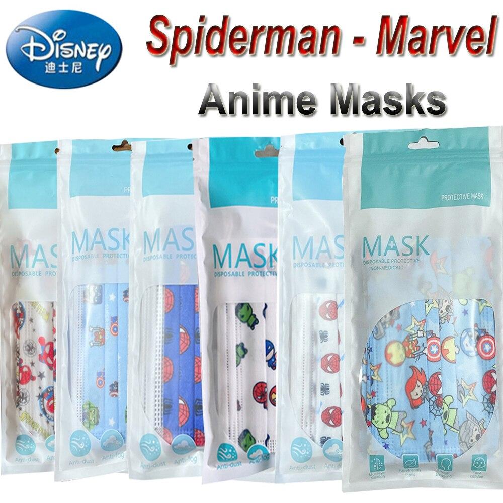 60/30Pcs Anime Masks Kids Cartoon Blue Spiderman Marvel Masks 3 Layer Spunlace Cloth Aged 4-12 Children