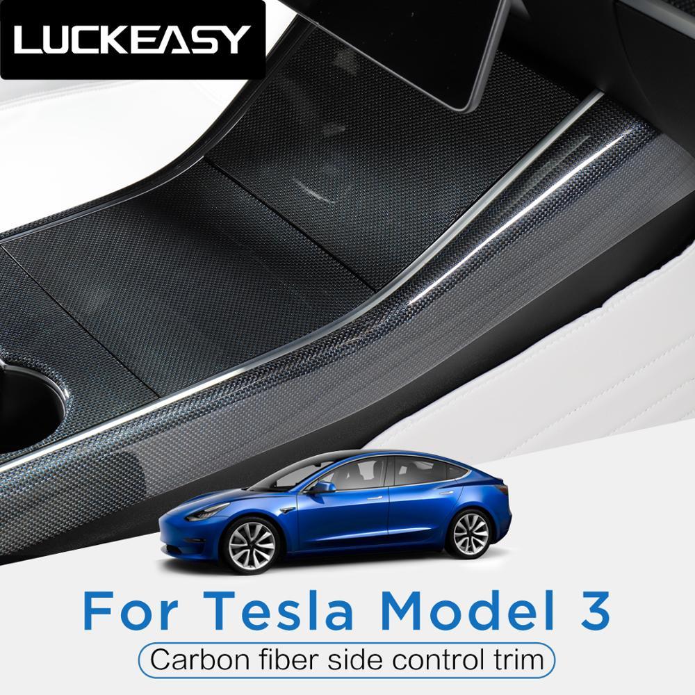 Accesorios de coche LUCKEASY, ajuste de control lateral de fibra de carbono azul Interior para Tesla model 3, pegatinas de película de borde lateral de protección