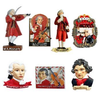 Neue Handgemachte Gemalt Österreich Wien Musiker Mozart 3D Kühlschrank Magneten Tourismus Souvenirs Kühlschrank Magnetischen Aufkleber Geschenk