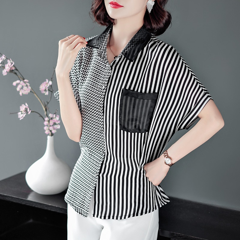 Womens Tops Striped Blouses Shirt Casual Loose Style Plus Size Joint Short Sleeve Shirts Office Ladies Clothing