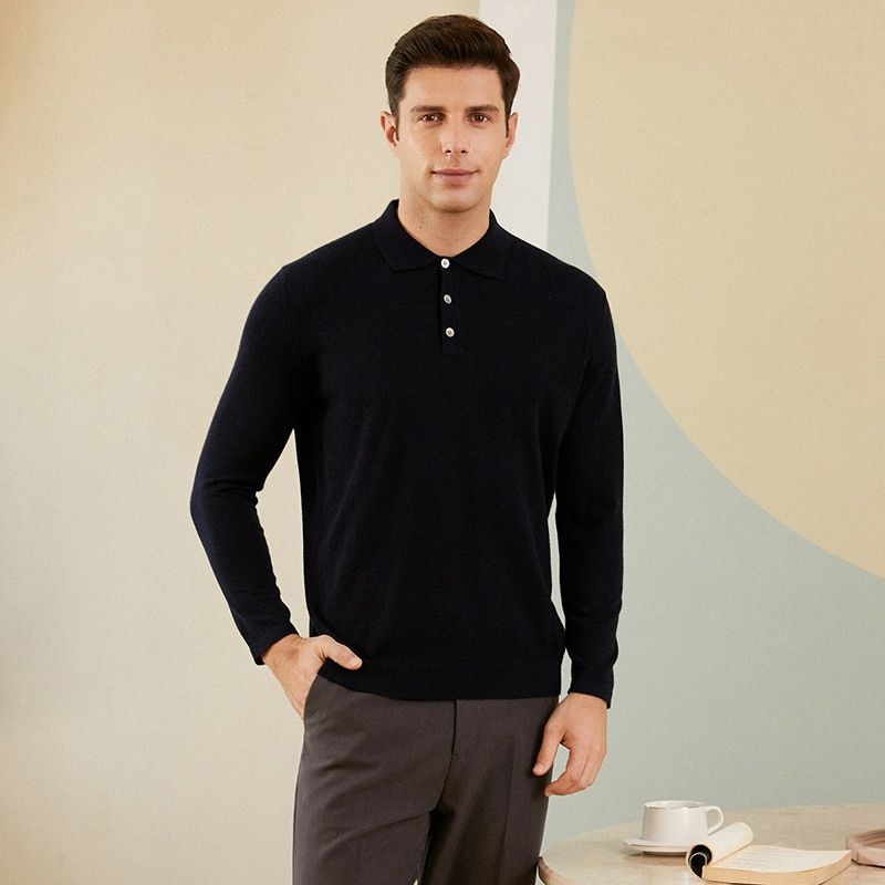 Autumn and winter men's cashmere sweater polo casual lapel long-sleeved loose sweater large size sweater base