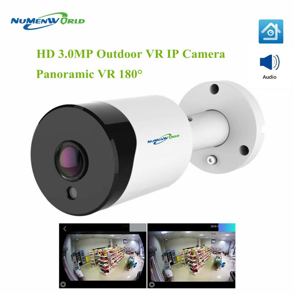 Cámara de ojo de pez de 3,0 MP cámara de seguridad de 180 grados 3MP HD cámara de Audio IP al aire libre impermeable panorámica IR Cámara inteligente CCTV P2P