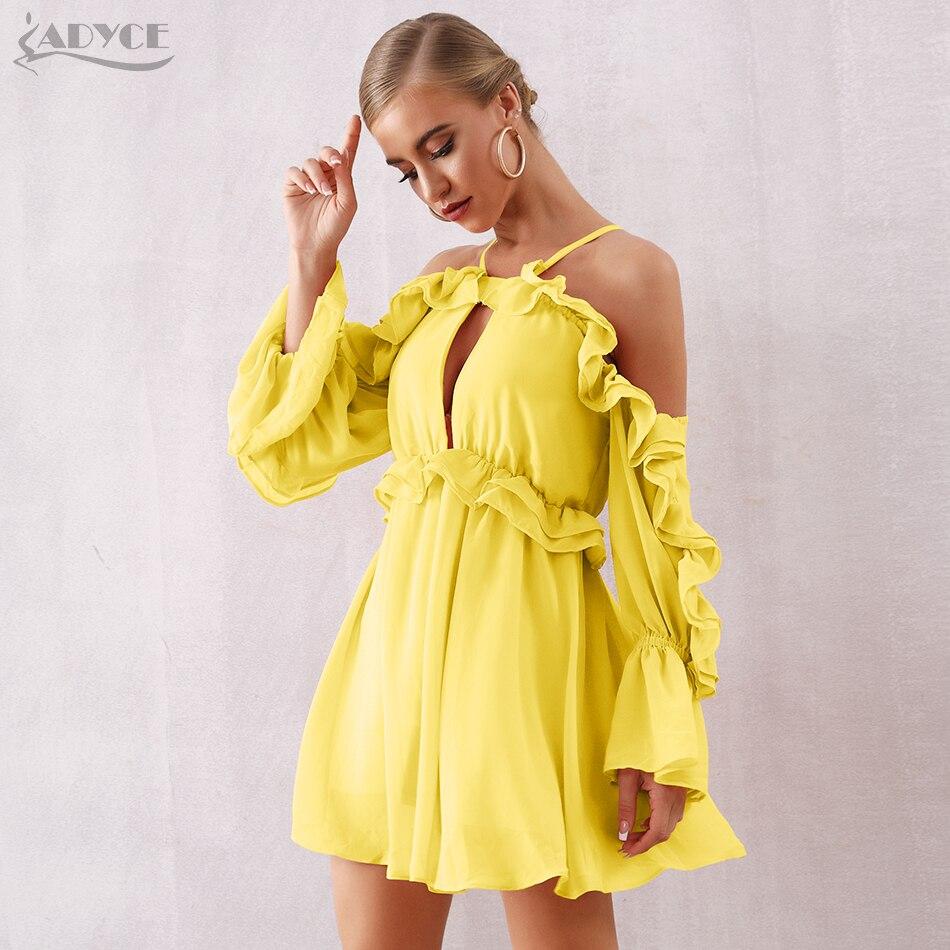 Adyce 2019 nuevo verano Mujer venda Sexy vestido de la llamarada de la manga de encaje blanco vestido Midi Vestidos elegante de noche de celebridad vestido de fiesta