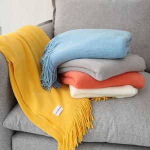 Летнее трикотажное одеяло с кисточками для кровати, офиса и путешествий, покрывало для дивана s