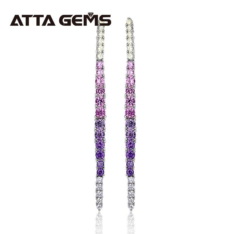 Pendientes de plata de circón coloridos para mujer, joyería fina, pendiente multicolor, diseño de moda, pendientes encantadores, joyería, regalos S925