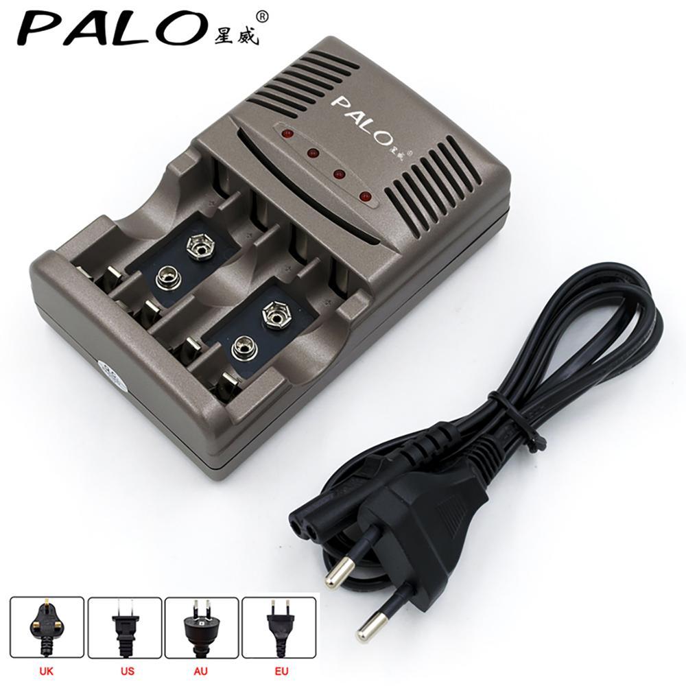 Cargador rápido de batería AA AAA PALO, cargador de batería inteligente con pantalla LED para 1,2 V AA AAA o 9V NiCd NiMh, batería recargable