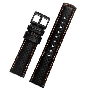 Waterproof carbon fiber grain leather strap  universal watchband 18mm 20mm 21mm 22mm 23mm 24mm black wristwatches band