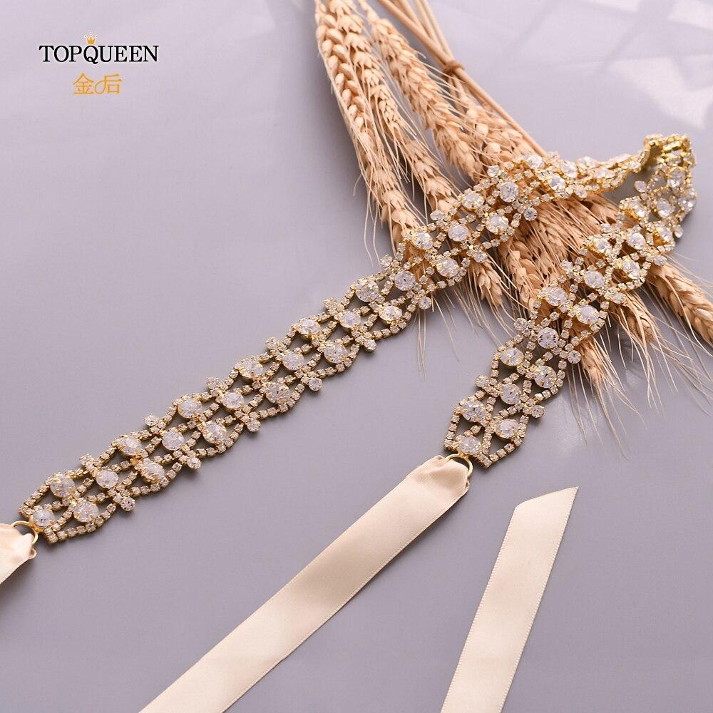 Cinturón de boda TOPQUEEN dorado, cinturón de diamantes de imitación hecho a mano, cinturón de novia dorado para mujer, Faja de aleación, Faja para cinturón de vestir S414-G