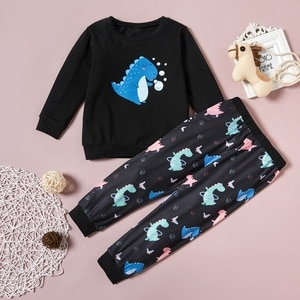PatPat 2-piece Baby / Toddler Dinosaur Print Pullover and Pants Set for Kids Boy Clothing Sets