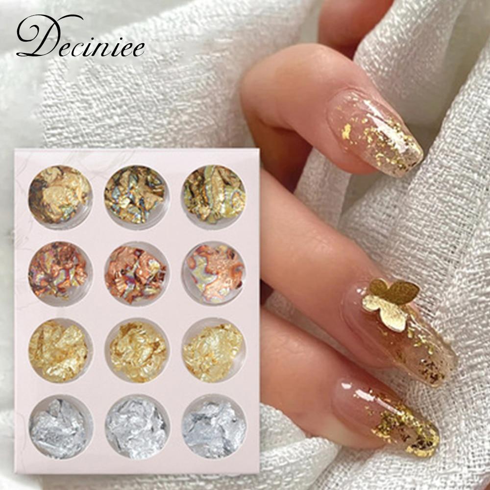1 коробка, 12 шт, фольга для ногтей, блестящая многоцветная Фольга для ногтей, блестки для ногтей, фольга для ногтей, украшения ногтей, сделай с...