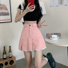 Summer Korean New High Waist Slimming Lace Buttoned Mini Skirt Solid Chic Fashion Women All-match Sw