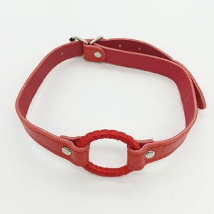 O Ring Open Mouth Gag Oral Fixation Mouth Gaged Red Leather Gag Sex Bondage Restraints Fetish Slave Gag Erotic Toy for Women