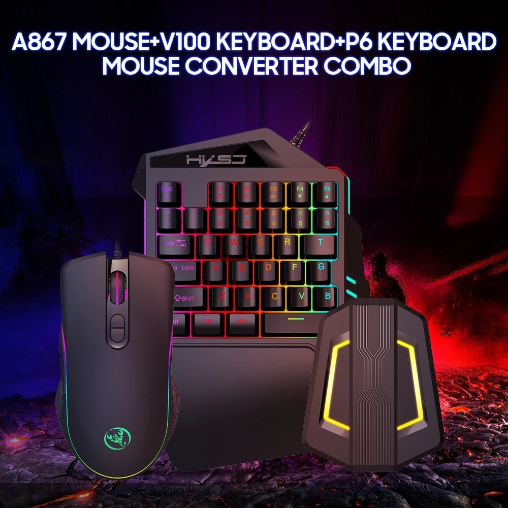 A867 RGB مريح السلكية الألعاب ماوس مجموعة V100 35 مفاتيح واحدة اليد الألعاب لوحة المفاتيح P6 المحمولة لوحة المفاتيح ماوس محول كومبو