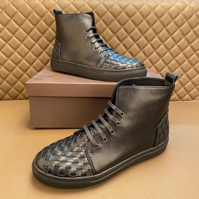 2021 high-top men's shoes cowhide woven business casual youth set foot British short boots board sho