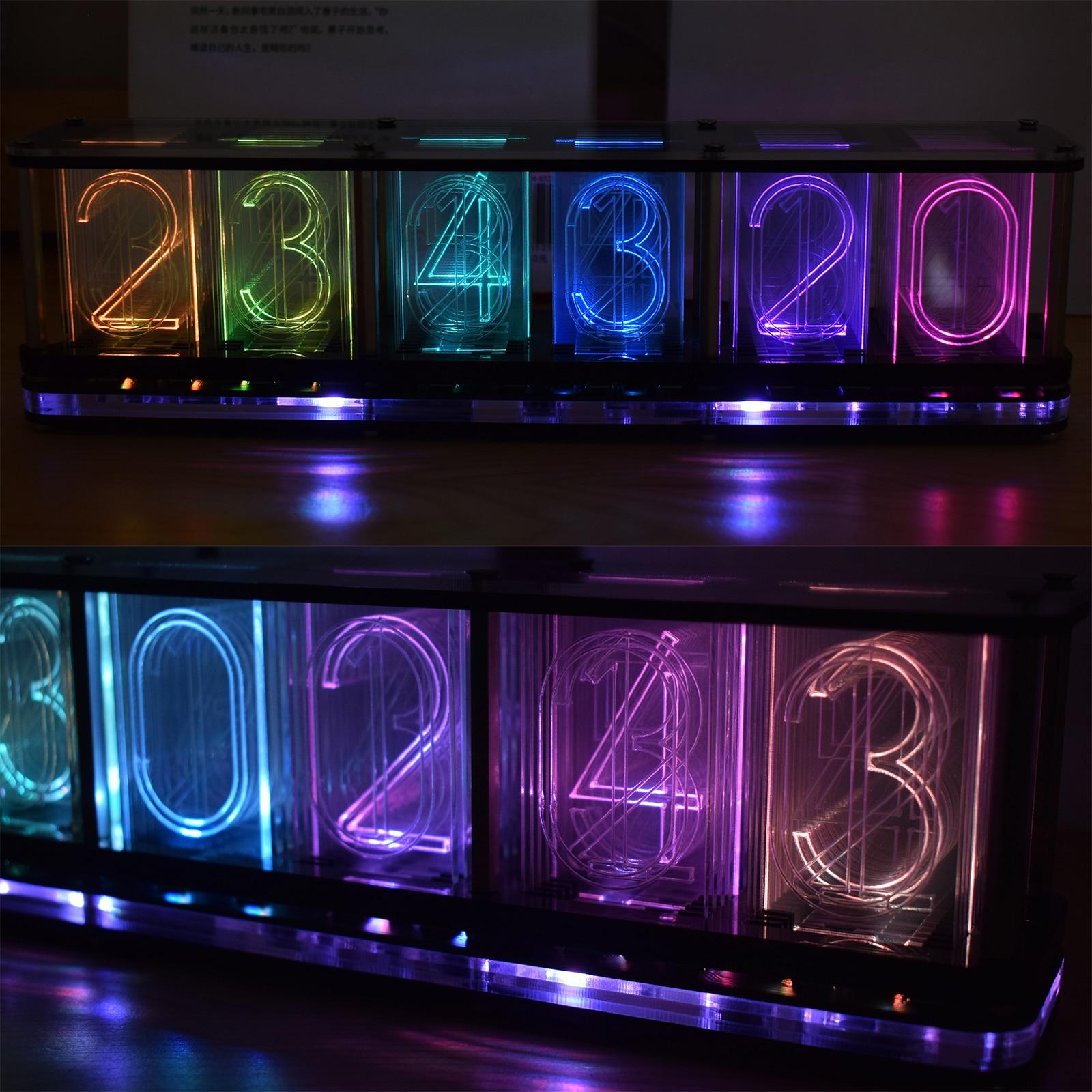 【Big Font】DIY Rainbow RGB Full Color LED Digital Retro Glow Analog Nixie Tube DS3231 Electronic Clock Music Spectrum Display Kit