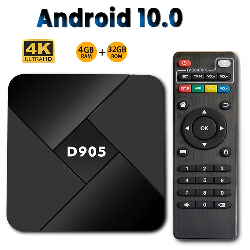 D905 Smart TV Box Android 10.0 4GB 32GB Wifi 2.4G 4K Amlogic S905 Youtube Media player Android TVBOX
