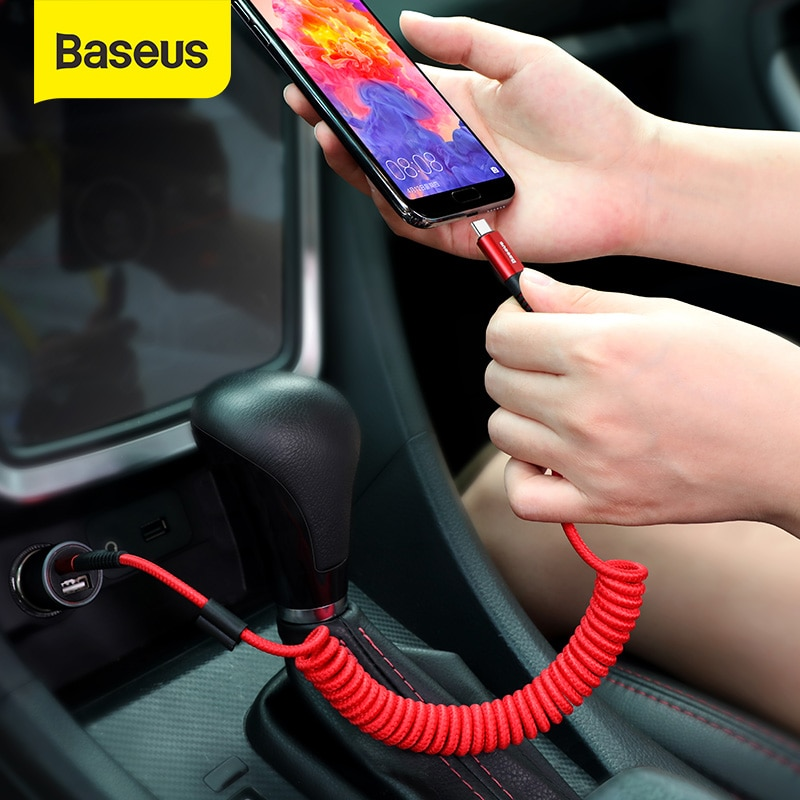Baseus primavera USB Cable de tipo C para Xiaomi Mi 9 Huawei P30 Lite Samsung S10 2A USB C rápido Chagrge Cable retráctil Cable de tipo C