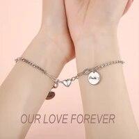 new charm couple bracelet 2pcsset magnet attraction stainless steel pendant link chain bracelet for women men lover jewelry