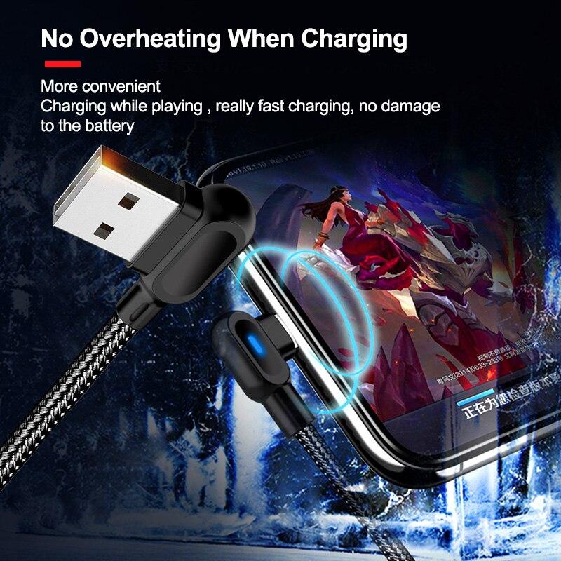 Cable Micro USB tipo C con luz LED 90 grados 0,5 M...