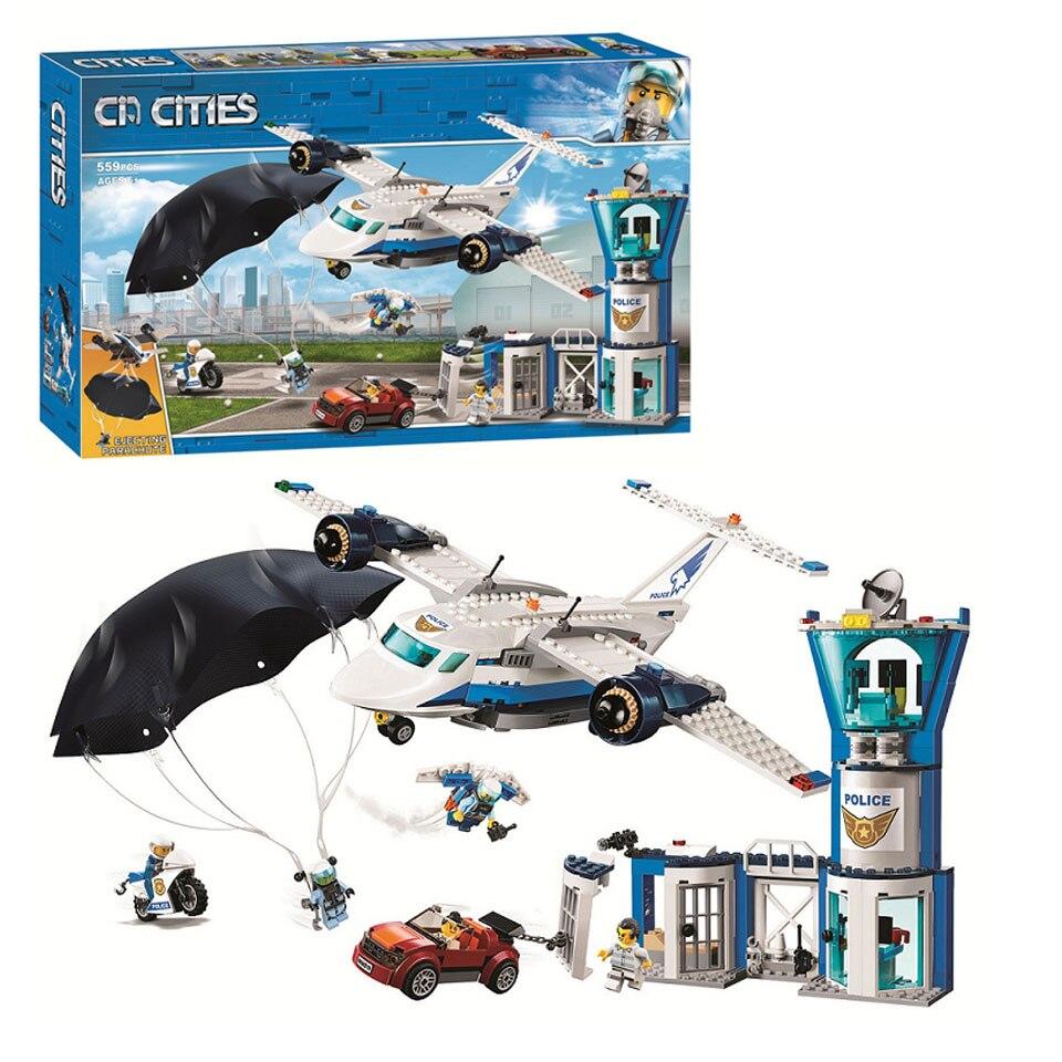 Новинка 11210, 559 шт., городское Arctic Sky Air Base, Geta, автомобильный самолет, парашют, Lepining, строительные блоки, кирпич, 60210, игрушка