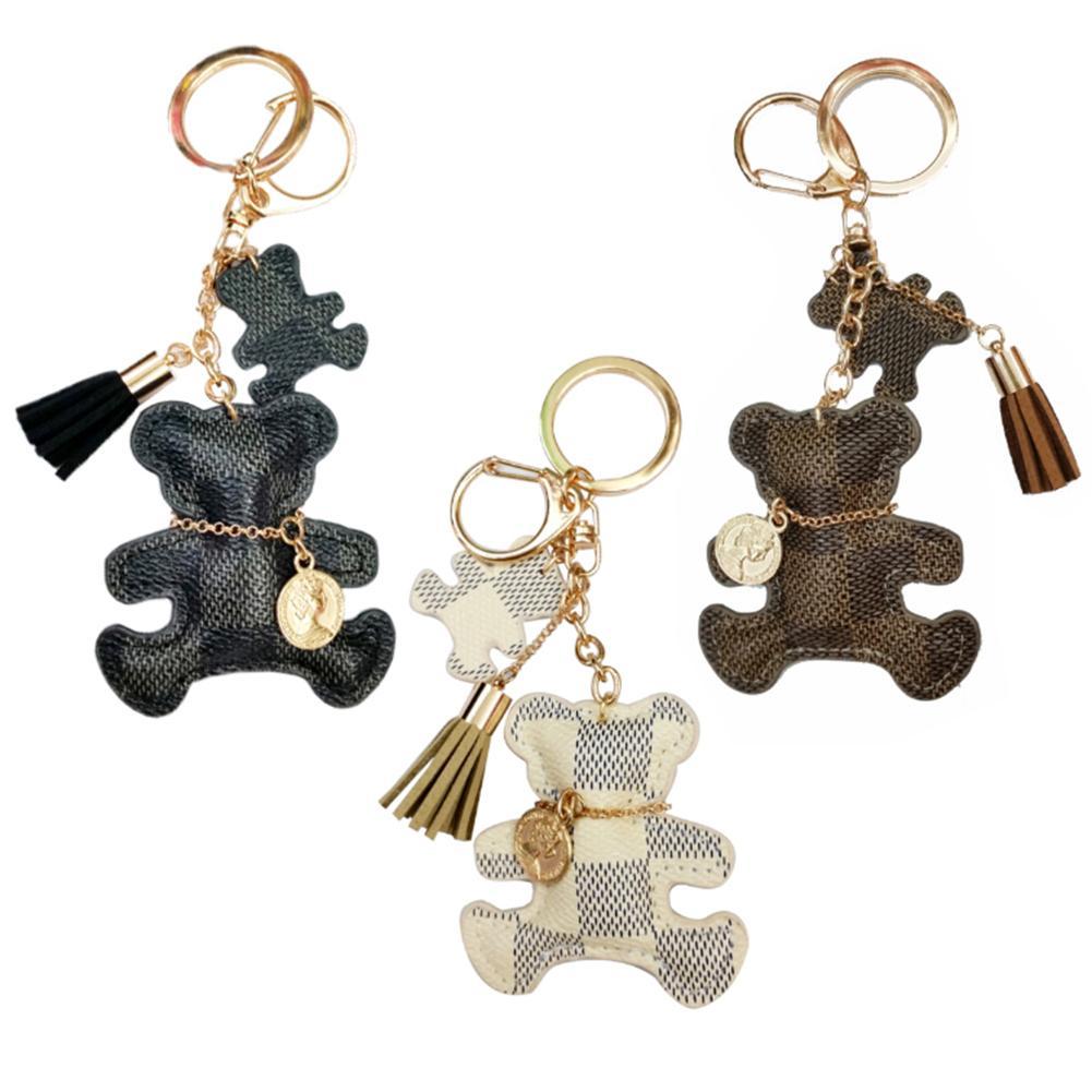 New Fashion Keychain Cute Style Bear Faux Leather Tassel Simple Decor Bag Pendant Car Key Hanging Ac