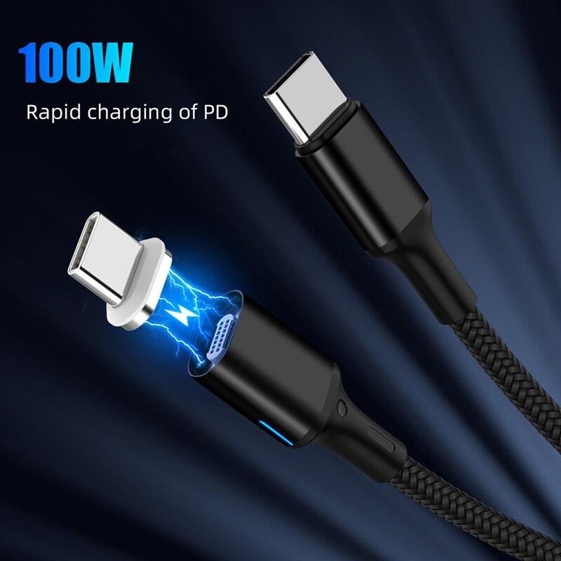 Cable magnético Dual tipo C 5A PD Cable de carga rápida para Notebook 20V 100W Cable de datos tipo C para Samsung S9 S8 para Huawei P20