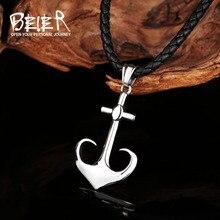 Beier acier inoxydable gouvernail ancre pendentif chaîne collier hommes bijoux LLBP8-507P