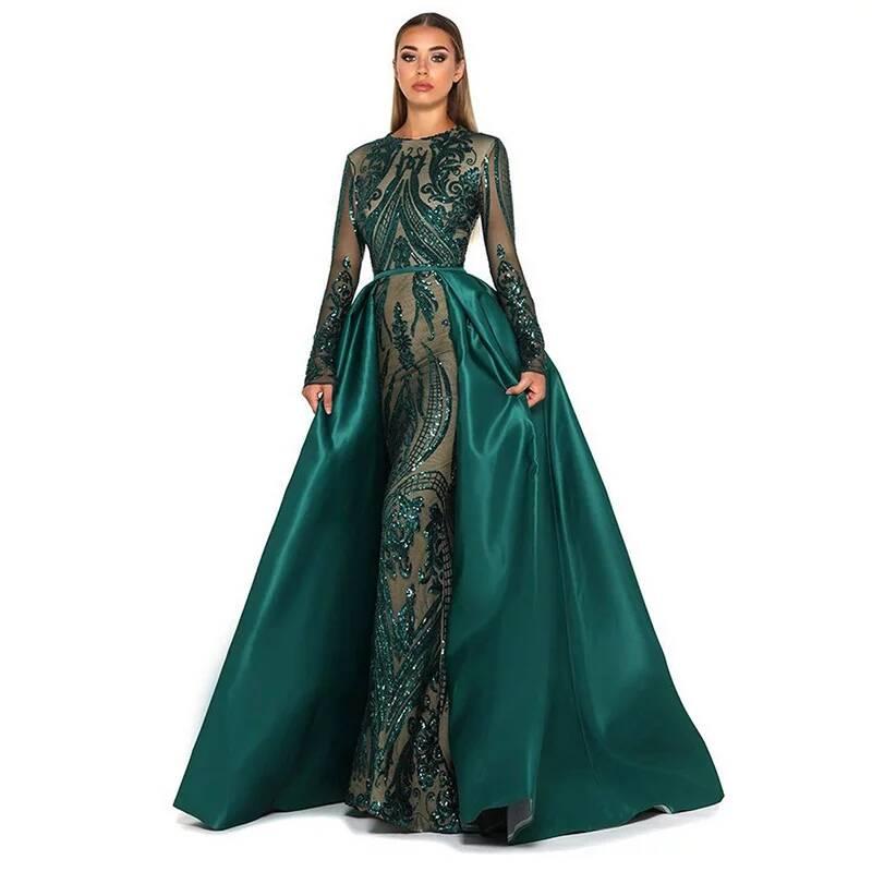 فساتين سهرة مطرزة بأكمام طويلة ، فستان أم العروس ، أنيق ، مسلم ، أخضر ، مع ذيل قابل للفصل ، متفاخر ، عرض خاص