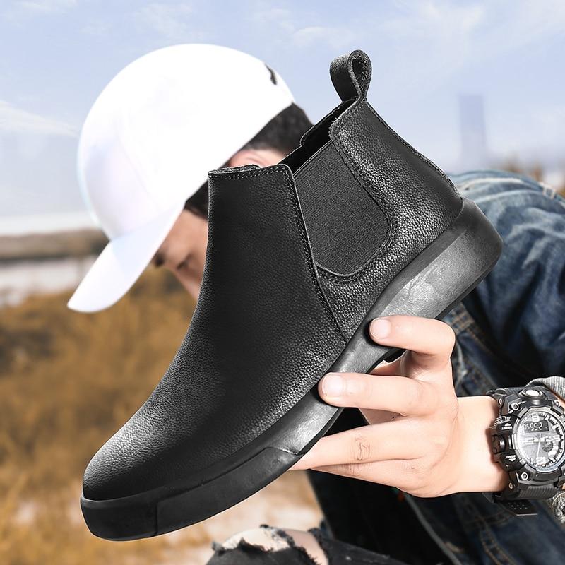 أحذية تشيلسي للرجال ، أحذية جلدية عالية الجودة ، أحذية دافئة لفصل الشتاء للدراجات النارية