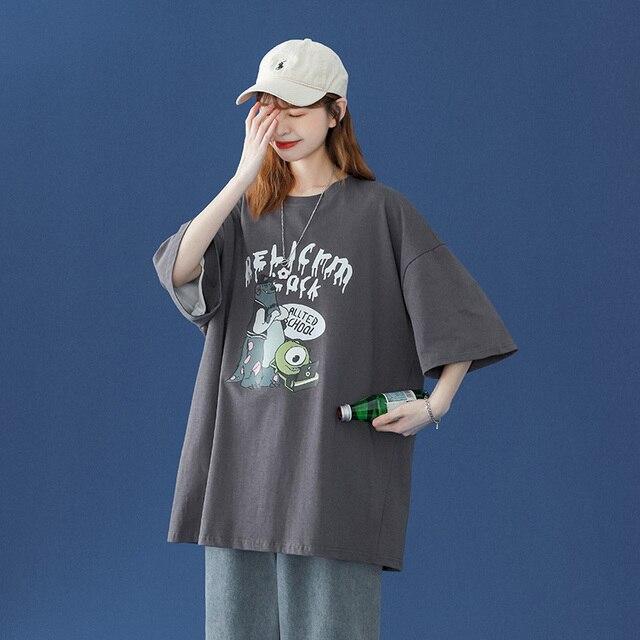oversized T-shirt Women Casual 100% Cotton Short Sleeve Unisex O-Neck Tshirt Fashion Fun Print Harajuku Plus Size punk clothes 4
