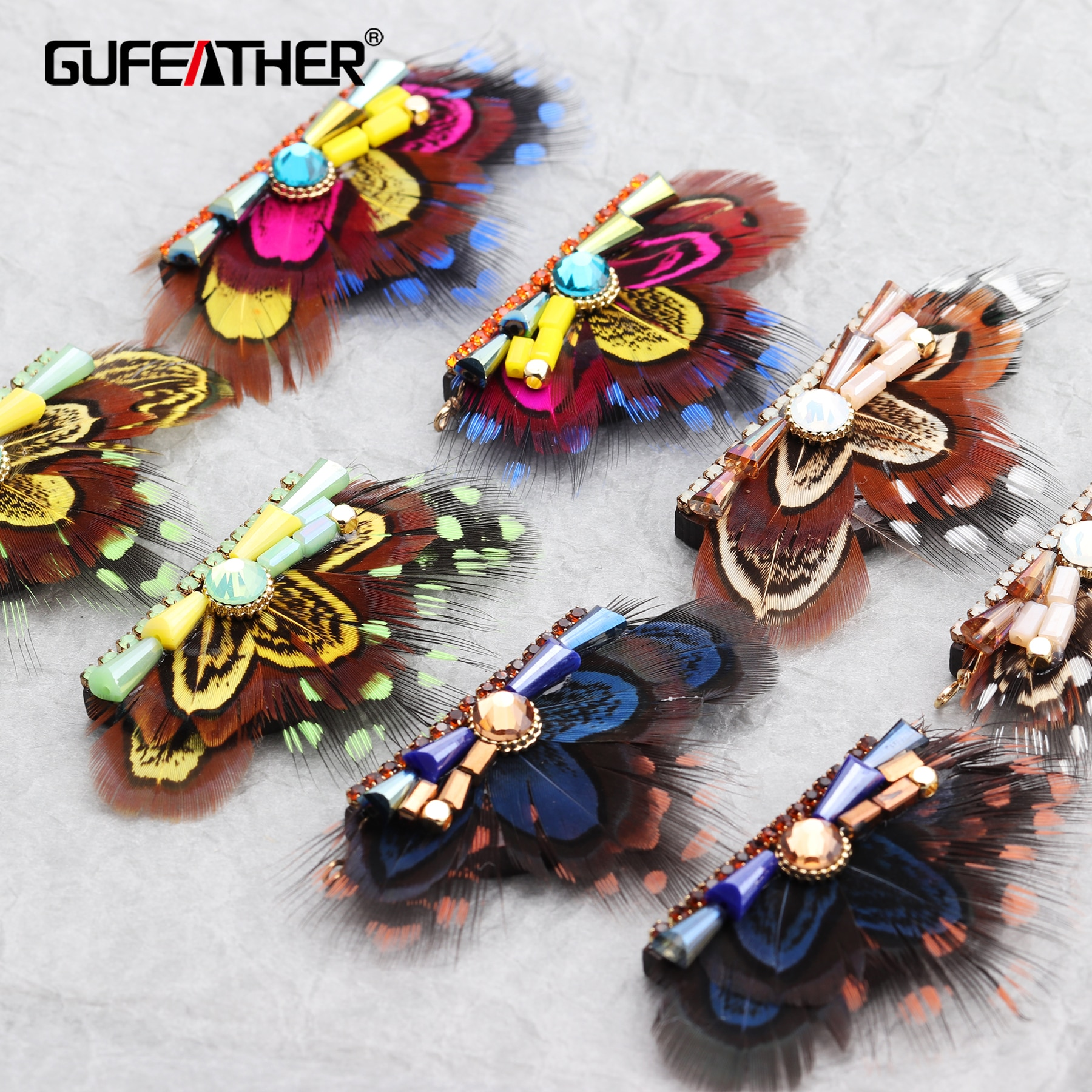 GUFEATHER M515,feather tassel,jewelry accessories,real feather,beads accessories,diy earrings,hand m