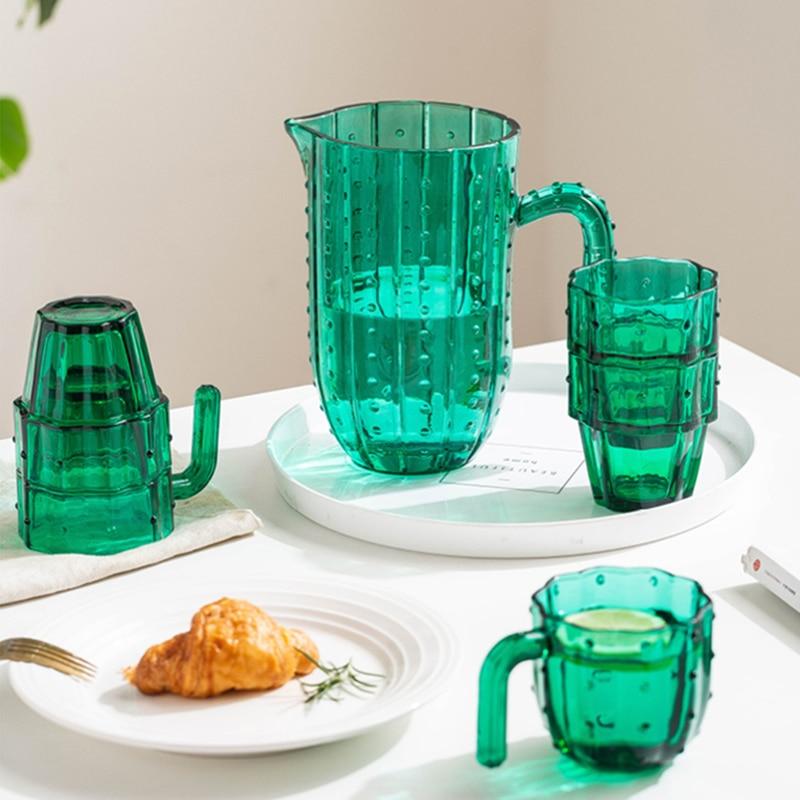 الأخضر الصبار مجموعة من 6 فناجين زجاج فنجان الشاي بسيط النمط الأوروبي المنزل الإبداع كوب حليب لطيف الكرتون كوب للمشروبات