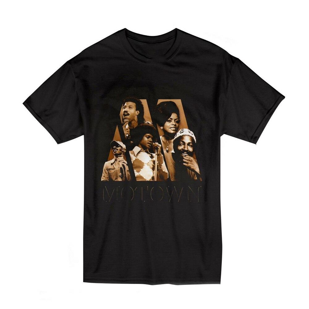 Motown michael jackson & marvin gaye topos t camisa tamanho S-2XL-XXXL cor preta aptidão mais tamanho camiseta