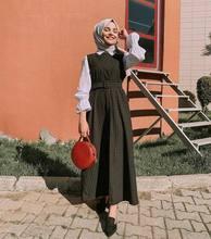 Islamitische Kleding Arabische Turkse Moslim Mouwloze Jurk Vrouwen Riem Slanke Lange Vest Jurk Dubai Kimono Gewaad Caftan Maxi Party Dress