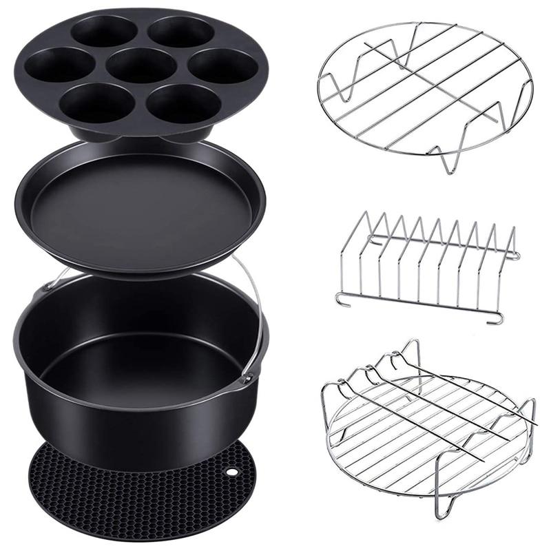 مجموعة من 7 طنجرة ضغط ، باخرة ومقلاة هوائية ، ملحقات خبز متوافقة مع Ninja Foodi 5 و 6.5 و 8 Qt OP101 و OP301 و OP302