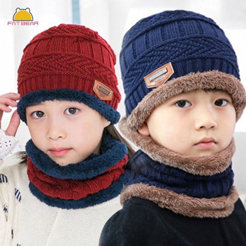 Gorro de punto para bebé bufanda turbante de lana caliente gorros con pelo suave sombrero para niños chicas chicos elástico gorro Otoño Invierno