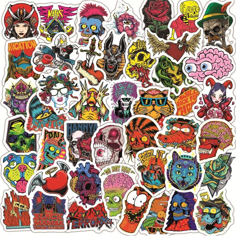 Paquete de 10/30/50 Uds. Pegatinas Punk de calavera de terror para motocicleta, monopatín, guitarra, coche, portátil, equipaje, pegatinas de grafiti, juguete para niños