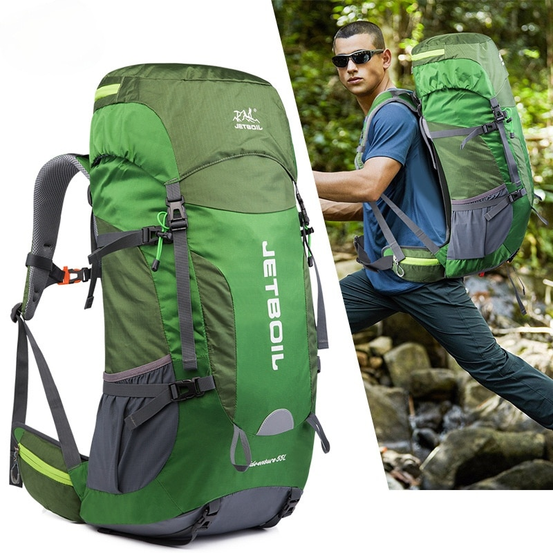 Mountaineering Bag Large Capacity Wear Resistant Waterproof Bag with Rain Cover Outdoor Men and Women Camping Travel Backpack