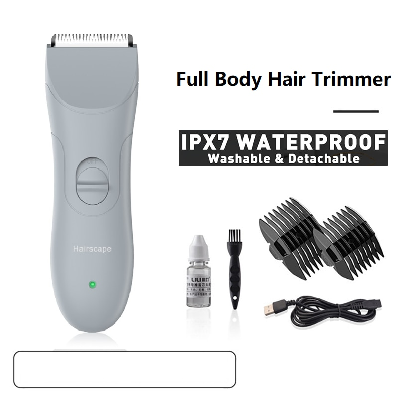 Groin Hair Trimmer Waterproof   Body Trimmer for Men   Electric Male Ball Shavers   Body Groomer Ceramic Blade